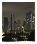 Skyline Of Singapore At Night As Seen From An Apartment Complex Fleece Blanket