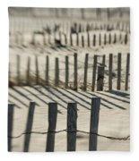 Slats Of Wooden Fence Throwing Shadows Fleece Blanket
