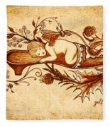 Sleeping Angel Original Coffee Painting Fleece Blanket
