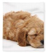 Sleeping Cockerpoo Puppy Fleece Blanket