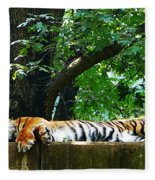 Sleeping Tiger Fleece Blanket