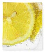 Sliced Lemon In Fizzy Water Fleece Blanket