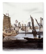 Sluice In China, 1800 Fleece Blanket