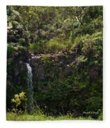 Small Waterfall - Hana Highway Fleece Blanket