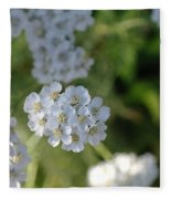 Small White Wildflowers  Fleece Blanket