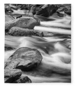 Smokey Mountain Stream Of Flowing Water Over Rocks Fleece Blanket