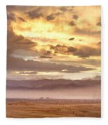 Smoky Sunset Over Boulder Colorado  Fleece Blanket