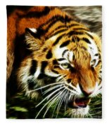 Snarling Tiger Fleece Blanket