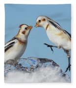 Snow Buntings And Ice Fleece Blanket