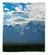 Snow Capped Teton Mountains Fleece Blanket