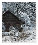 Snow Covered Barn Fleece Blanket