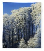 Snow Covered Trees In A Forest, County Fleece Blanket