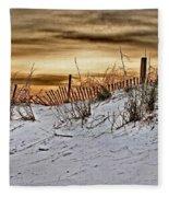 Snow Fence On Horizon Fleece Blanket