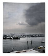 snow in port mahon - A very rare image of a mediterranean villa sided to sea covered of snow Fleece Blanket