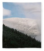 Snow On Black Mountain Fleece Blanket