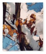 Snow On The Fall Leaves Fleece Blanket