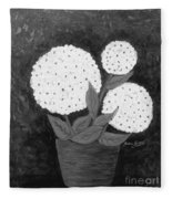 Snowball Plant B W Fleece Blanket