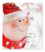 Snowman With Snowflakes  Fleece Blanket
