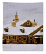 Snowy Day At Erdenheim Farm Fleece Blanket