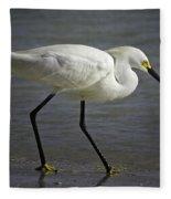 Snowy Egret By The Lagoon Fleece Blanket