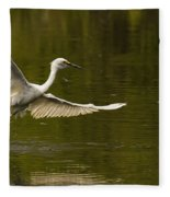 Snowy Egret Fishing In Florida Fleece Blanket