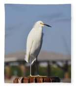 Snowy Egret Stare Down Fleece Blanket