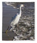 Snowy Egret Walking Fleece Blanket