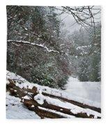 Snowy Fence Fleece Blanket