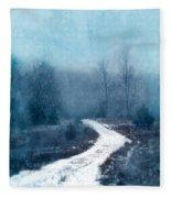 Snowy Foggy Rural Path Fleece Blanket
