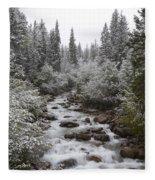 Snowy Foliage Along Stream In Autumn Fleece Blanket