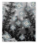 Snowy Night I Fractal Fleece Blanket