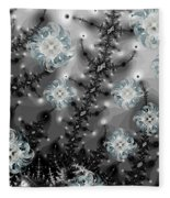 Snowy Night II Fractal Fleece Blanket
