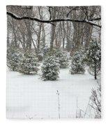 Snowy Pines Fleece Blanket