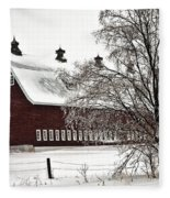 Snowy Red Barn Fleece Blanket