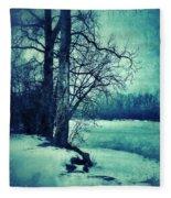 Snowy Woods By A Lake Fleece Blanket