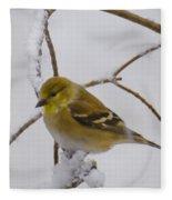 Snowy Yellow Finch Fleece Blanket