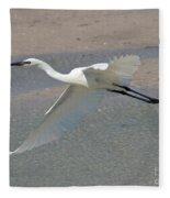 Soaring Snowy Egret Fleece Blanket
