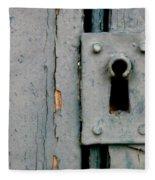 Soft Blue Door And Lock Fleece Blanket
