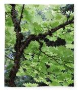 Soft Green Leaves Fleece Blanket
