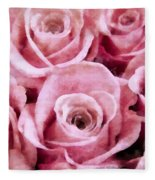 Soft Pink Roses Fleece Blanket