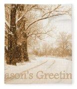 Soft Sepia Season's Greetings Card Fleece Blanket