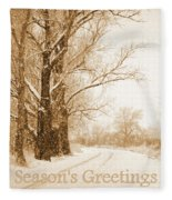 Soft Sepia Season's Greetings Fleece Blanket
