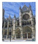 South Facade Of Leon White Gothic Fleece Blanket
