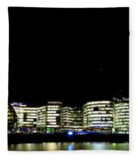 Southbank View Across The River Thames Fleece Blanket