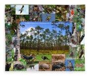 Southeastern Pine Forest Wildlife Poster Fleece Blanket