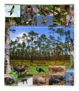 Southeastern Pine Forest Wildlife Poster Fleece Blanket