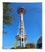 Space Needle In Seattle Washington  Fleece Blanket