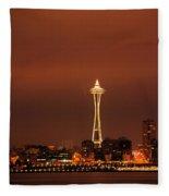 Space Needle Morning Fleece Blanket
