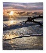 Sparkly Water At Driftwood Beach Fleece Blanket