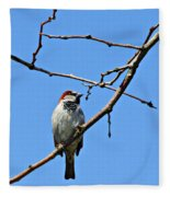 Sparrow On The Branch Fleece Blanket